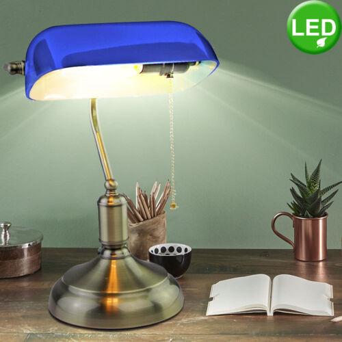 VINTAGE LED bureau table lampe de lecture bureau verre Beistell lampe bleu