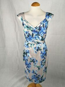 Ladies-Dress-Size-8-MONSOON-Grey-Blue-Shift-Wiggle-Party-Evening-Wedding