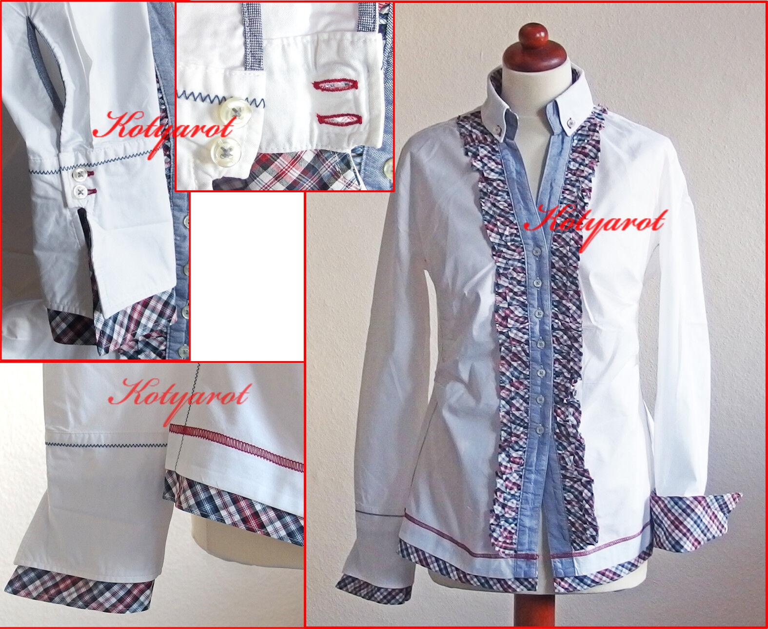 Q1 Manufaktur hochwertige Blause Stretch Weiß Karo Gr.38 40 Rüschen Volants