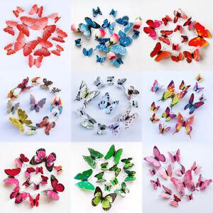 12pcs 3D DIY Papillon Sticker Mural Décoration Adhésive Chambre ...