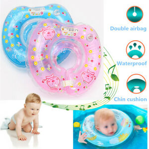 Inflatable Baby Newborn Neck Float Ring Bath Safety Aid Toy Swimming Circle Pink
