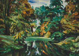 Carl-WALTHER-1880-1956-Waldlandschaft-mit-Bach-Aquarell