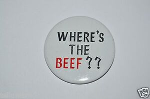 RARE-Vintage-1980-039-s-Funny-034-Where-039-s-The-Beef-034-Wendy-039-s-Button-Pin-Shirt-Hat-VHTF