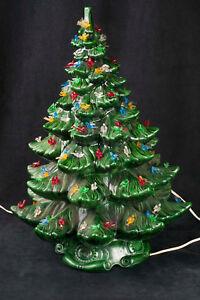 Details About Vtg 70 S Atlantic Mold 23 Ceramic Green Christmas Tree Bird Peg Light See Video