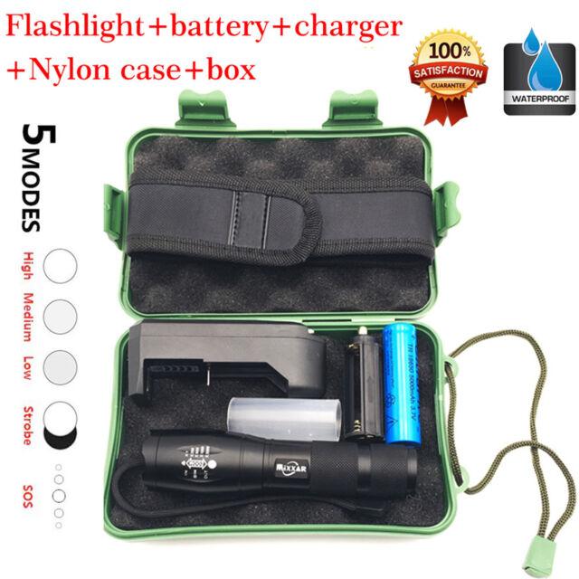 100PCS Tactical Flashlight Zoomable Torch LED Pen Light Mini  5000LM Q5 Lamp USA