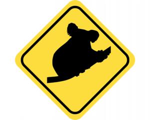 Samunshi Koala Warnschild Warndreieck Aufkleber Achtung Vorsicht Tier