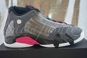 6b79feaf443ea1 NIKE AIR JORDAN 14 RETRO XIV METALLIC DARK GREY HYPER PINK 654969 ...