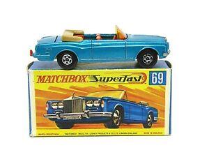 Matchbox-Lesney-No-69c-Rolls-Royce-Silver-Shadow-G2-Caja-raro-base-de-color-amarillo-oscuro