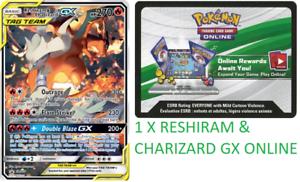 RESHIRAM /& CHARIZARD GX TAG TEAM SM201 UNBROKEN BONDS Code  EMAILED FAST