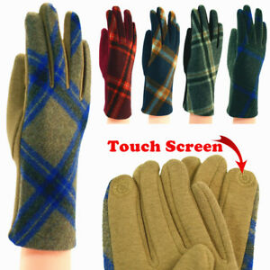 For-Womens-Tartan-Check-Plaid-Soft-Winter-Outdoors-Wool-Gloves-With-Touch-Screen