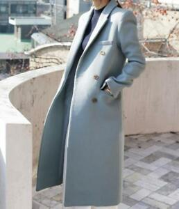 Womens Full Length Long Double Breated Lapel Wool Blend Trench Coats Outwear New