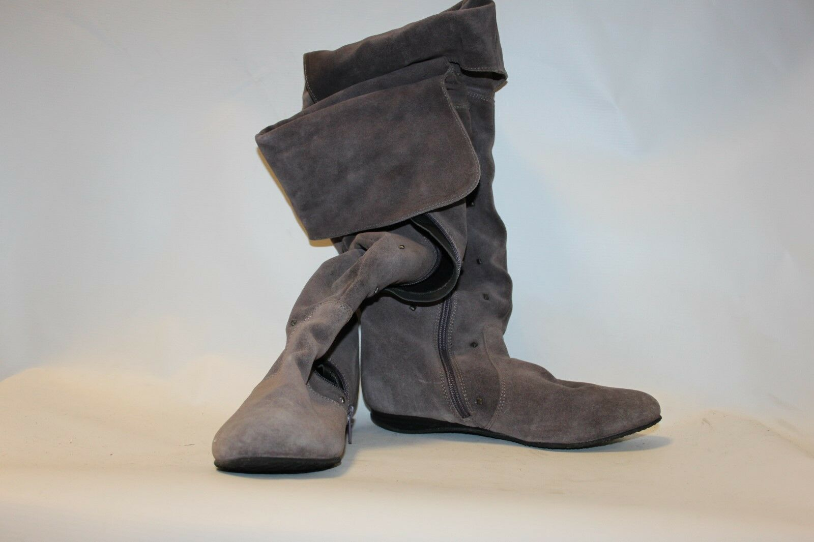 Ladies Grey Thigh High Boots Stud Detail by Grazia Size 4 Fleece Lined Flat shoes