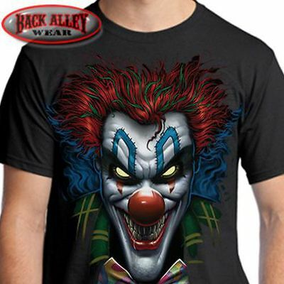 PSYCHO CLOWN T-SHIRT ~ Evil Insane Jester Tee ~ Crazy Creepy Cool