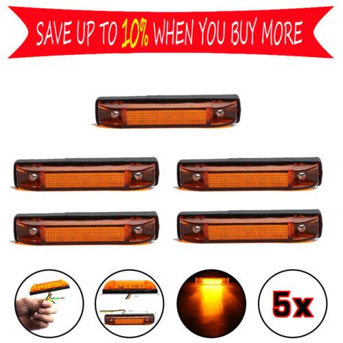 5x 6 LED Truck Pickup Trailer Clearance Side Marker Indicators Light Lamp Amber