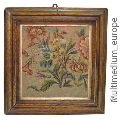 GüNstiger Verkauf Jugendstil Eichen Holz Rahmen Wand Bild Blumen Stickerei