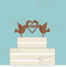 Doves & Heart Vintage Monogram, Wedding Cake Topper, Hardwood