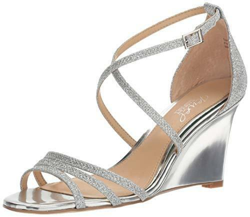 2b1cd5d73 JEWEL Badgley Mischka Hunt Strappy Wedge Sandals Silver Glitter 9 US for  sale online