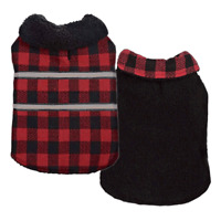 Zack & Zoey Thermapet Plaid Thermal Blanket Coat Reversible Reflective Trim Warm