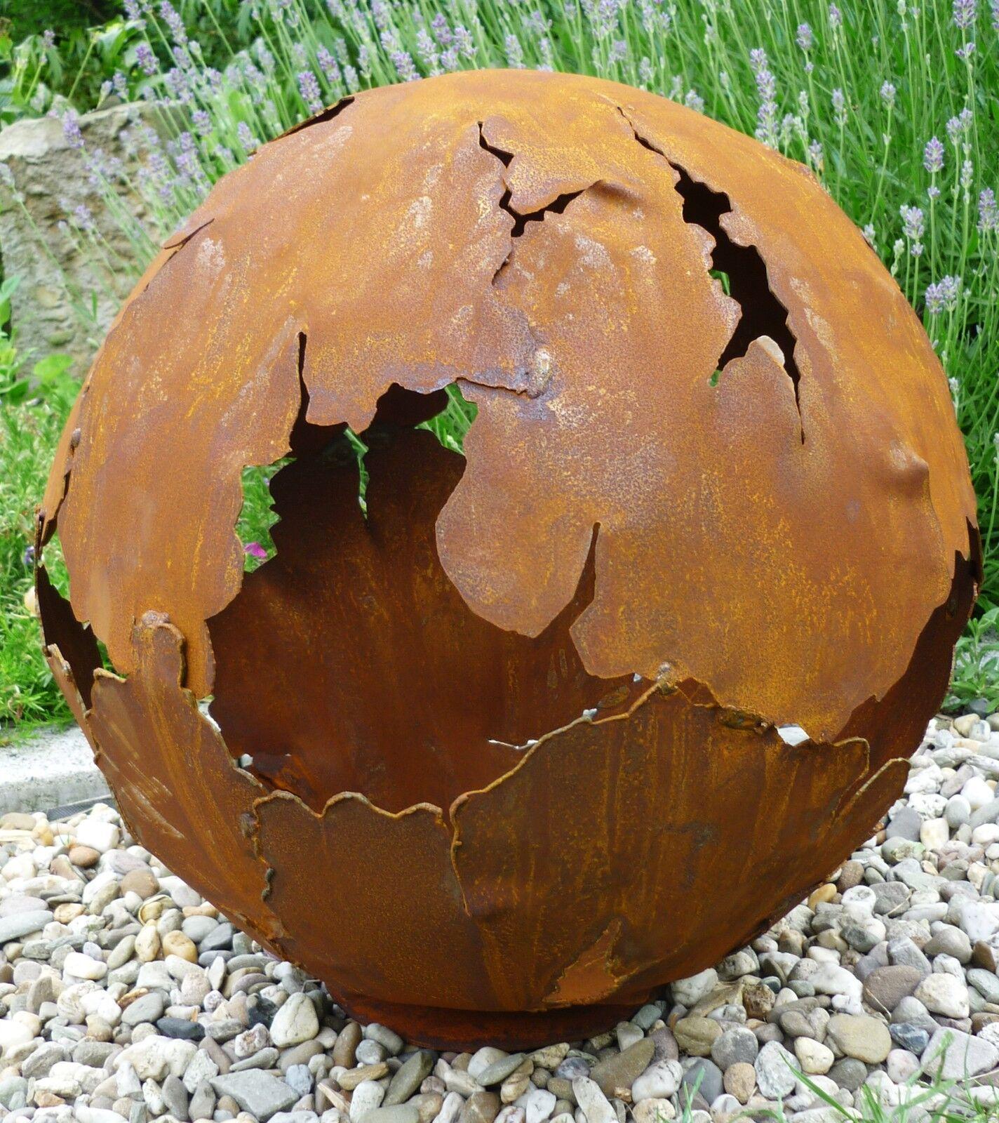 Riss Kugel Edelrost Rost Gartendeko Garten Feuerschale Metall Feuerkugel  40cm Ø