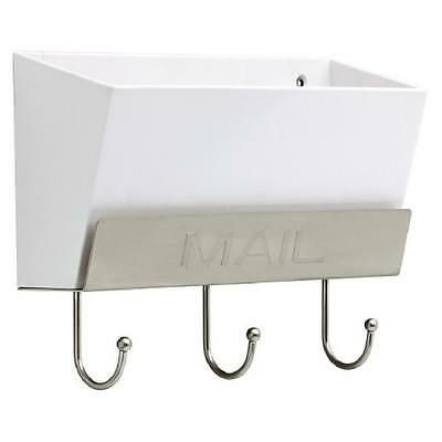 Threshold™ Classic Mail Holder - White/Satin Nickel w/Key Hooks