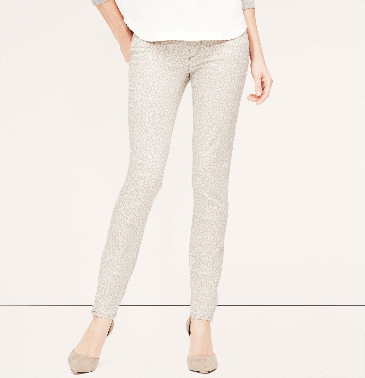 Ann Taylor LOFT Modern Skinny Ankle Zip Jeans Pants in Animal Print 25, 27, 30