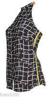 $225 Sachin + Babi Audriana Open Back Halter Top Blouse Black Grid Print L