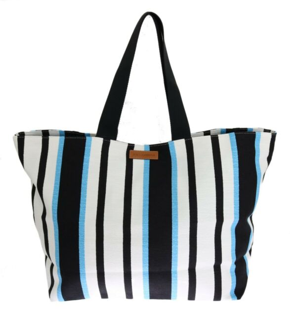 NEW  540 DOLCE   GABBANA Bag Blue White Striped Cotton Shopping Tote Hand  Clutch 68f7967c4ae78