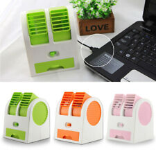 Mini Small Fan Cooling Portable Desktop Dual Bladeless Air Conditioner USB NEW