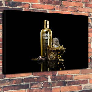 Absolut-Vodka-Bling-Gold-Printed-Box-Canvas-Picture-A1-30-034-x20-034-30mm-Deep-Bar