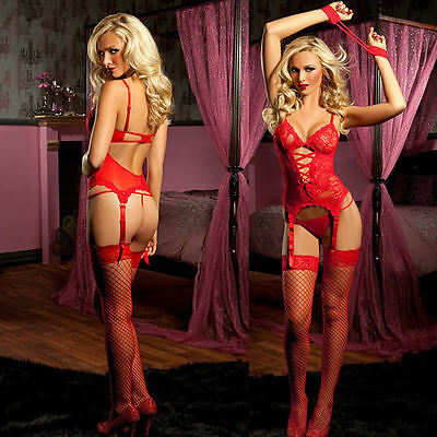 HOT Lace Sexy Lingerie Underwear Dress+ G string+ Handcuff+ Garter Nightwear