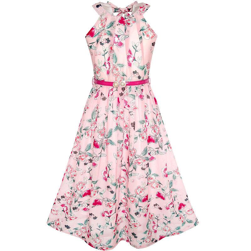 Mädchen Kleid Rosa Blumen- rot Gürtel Chiffon Maxi kleiden Gr. 110 ...