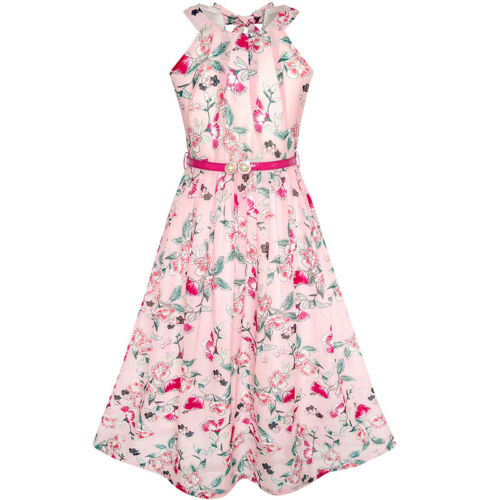 Girls Dress Pink Floral Red Belt Chiffon Maxi dress Size 6-14 Pageant