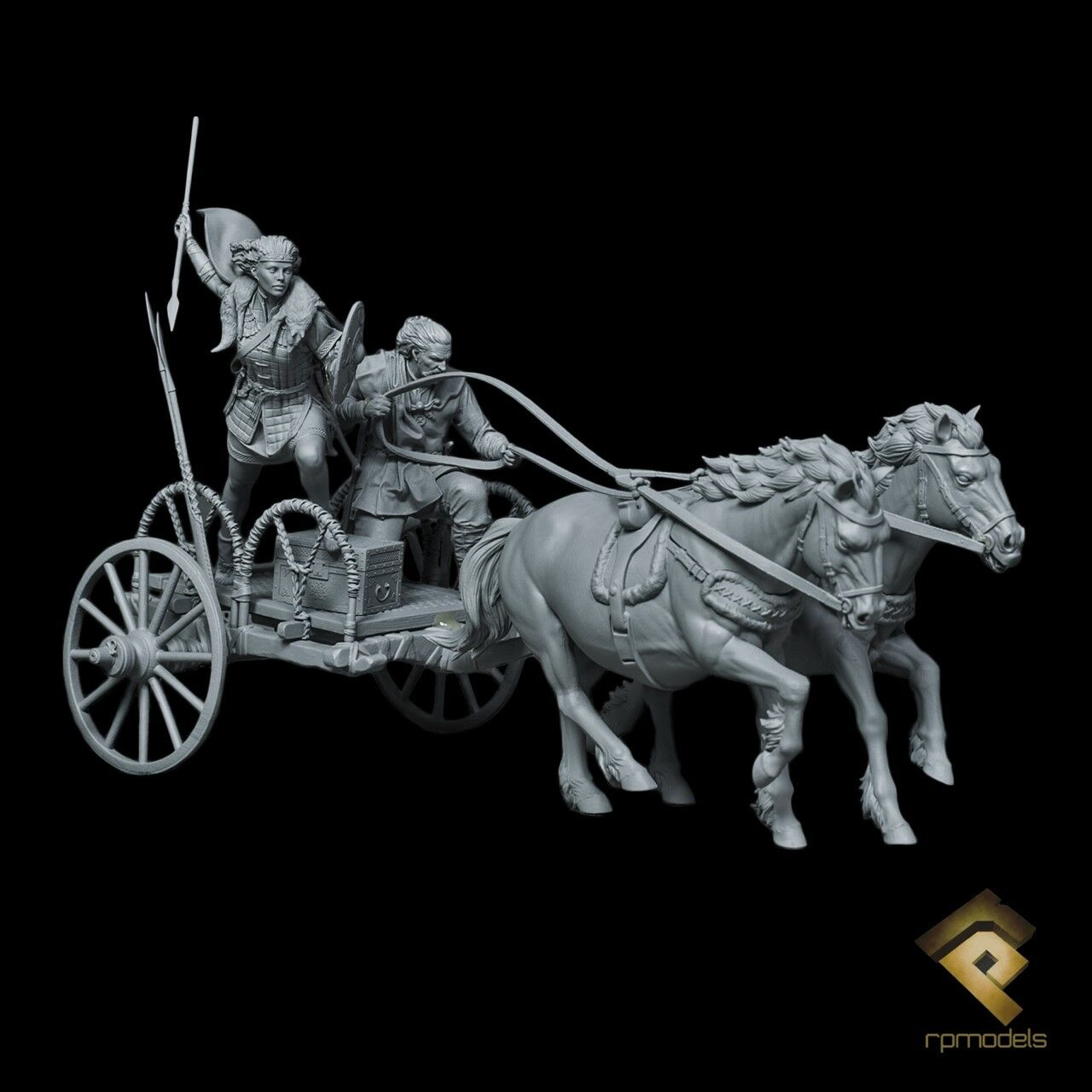RP Models Boudica in War Chariot 2 horses Unpainted 75mm Figure kit