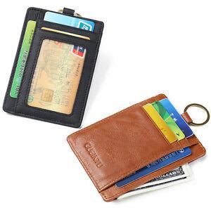 New RFID Genuine Leather Mens ID Card Holder Money Clip
