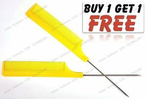 Hairdresser-Barber-Metal-End-Pin-Tail-Rat-Tail-Comb-For-Styling-Yellow-Free-Uk
