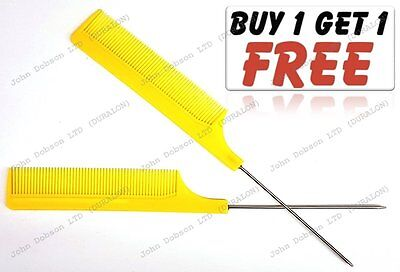 Hairdresser Barber Metal End Pin Tail Rat Tail Comb For Styling Yellow Free  Uk | eBay