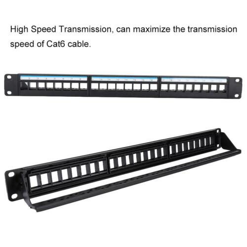 """19/"""" 24 Port Mountable Data Patch Panel CAT6 Network Cable Rack Without Modules"""