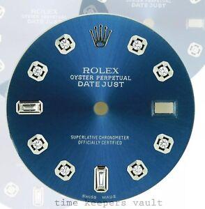 Custom-Blue-Genuine-Diamond-Dial-to-Fit-Rolex-Datejust-Quickset-36mm-Model