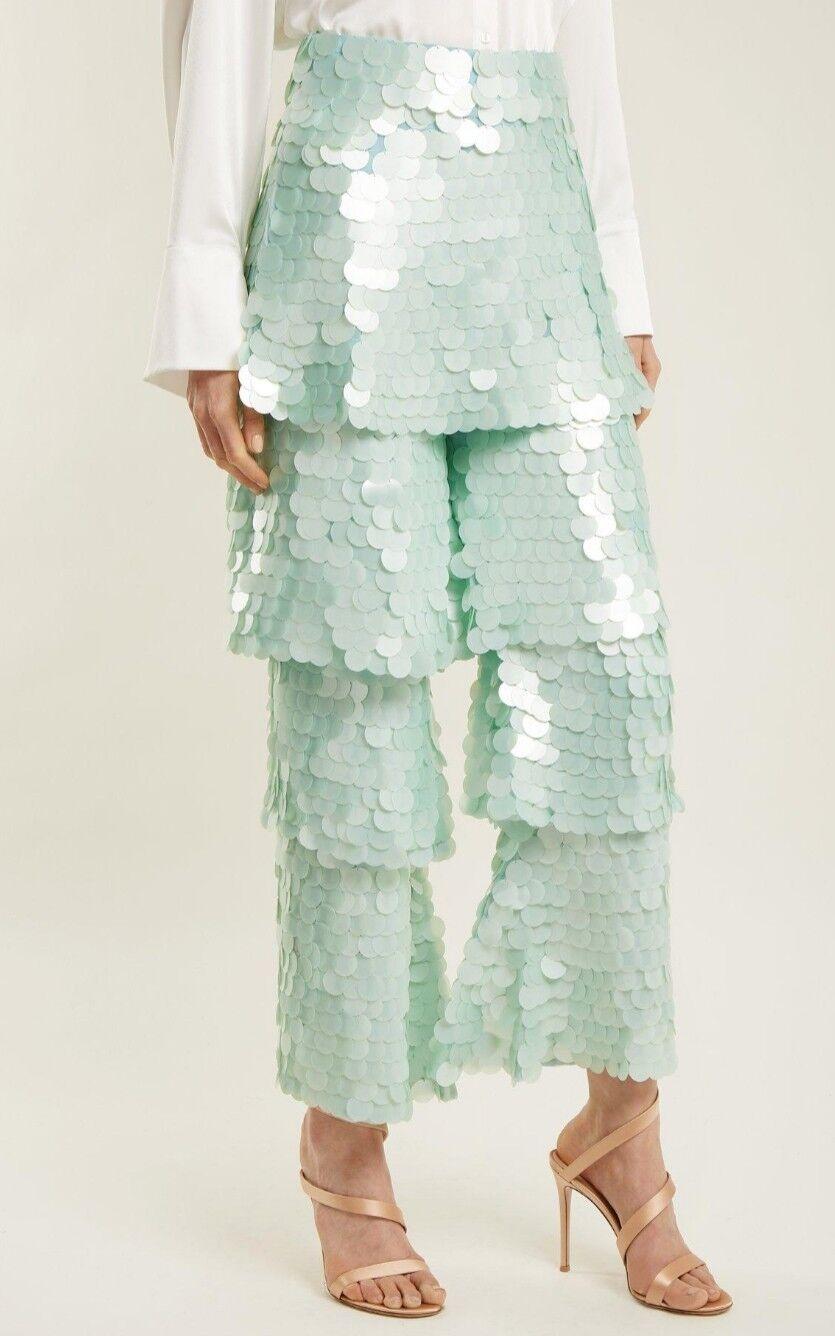 NWT OSMAN Felux Embroiderot Sequin Tierot Flounce Trouser UK Größe 14
