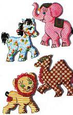 "Old 1950s Stuffed Toy PATTERNS Horse 15"" Elephant 16"" Camel 14"" Lion 14"""
