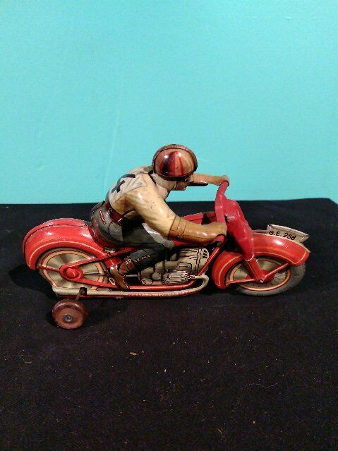 Antiguo Vintage TECHNOFIX Lata Litografiada Motocicleta Wind Up Toy Us Zone Germany Works