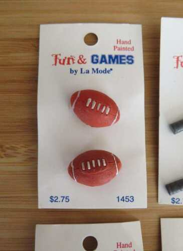 3 cards x 2 Novelty sports buttons rugby tennis basketball baseball ice skating