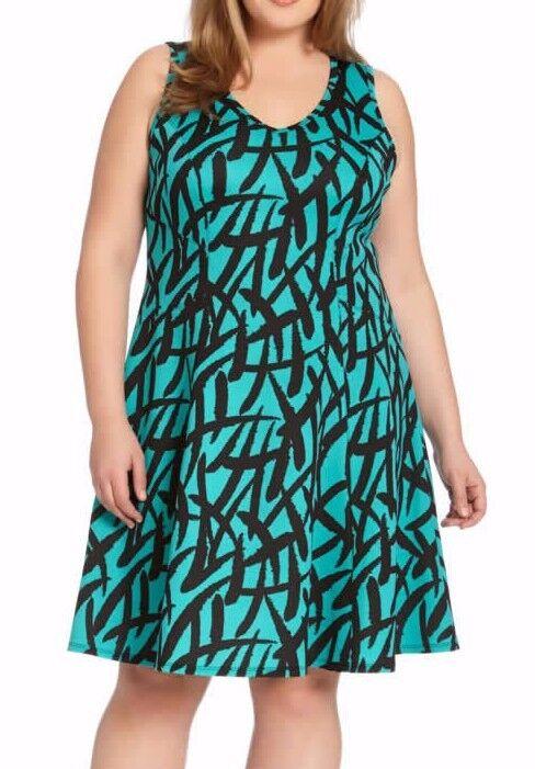 Karen Kane 1L53524W Baja Grün schwarz Plus Größe Stretch Scuba A-line Dress -