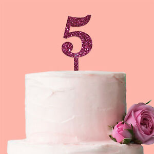 Cool Number 5 Cake Topper Glitter Pink Birthday Decoration Present Gift Personalised Birthday Cards Akebfashionlily Jamesorg