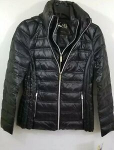Michael-Kors-Womens-Black-Light-Packable-Downfill-Coat-with-Hood-NWT-Size-XS