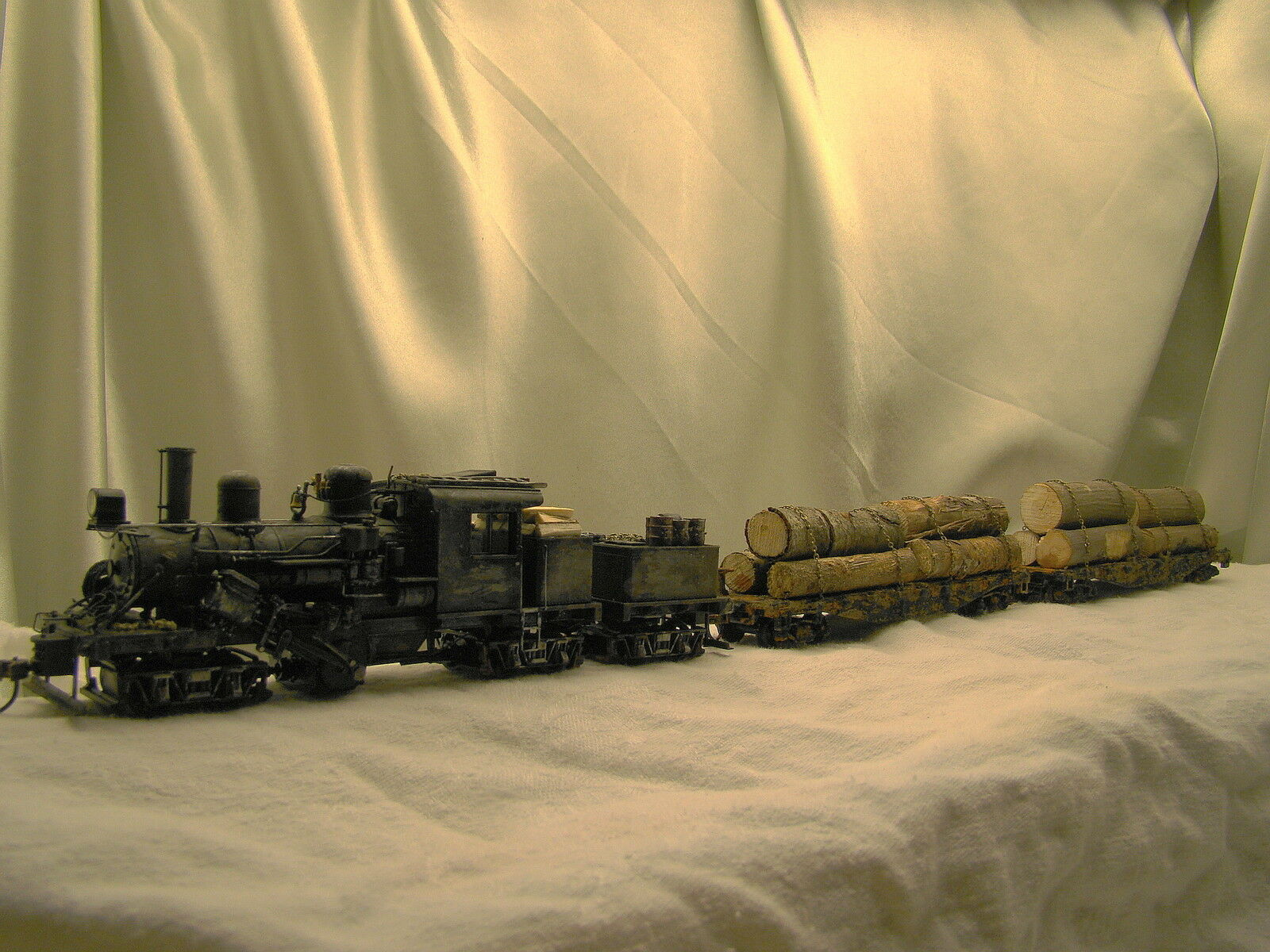 Climax Leña Steam Locomotive DCC  2 Coches -weathered, a Medida Construido-