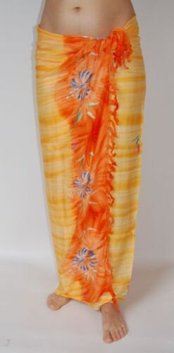NUOVO Qualità Premium Arancione Stampa Floreale Sarong Pareo coprire Wrap NUOVO con confezione sa365p