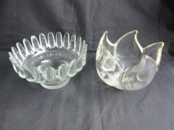 2 Schöne Glasgefäße, Für Kerzen Etc. Klar/leicht Gelbliches Glas Ein BrüLlender Handel