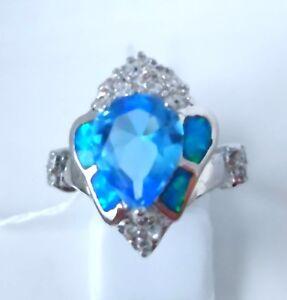 Splendido-Blu-Opale-di-Fuoco-Acquamarina-Anello-UK-Taglia-034-M-034-US-6-5