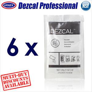 6 x Urnex DEZCAL Coffee Machine Activated Descaler 28g Decalcifier Decalcify